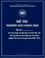 Sự ảnh hưởng của Đòn bẩy tài chính đến việc làm đẹp Báo cáo tài chính của các doanh nghiệp Việt Nam trong giai đoạn 2008  2012