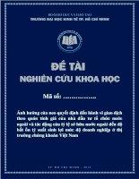 Ảnh hƣởng của neo quyết định đến hành vi giao dịch theo quán tính giá của nhà đầu tư tổ chức nướcc ngoài và tác động của tỷ lệ sở hữu nước ngoài đến độ bất ổn tỷ suất sinh lợi mức độ doanh nghiệp ở thị trƣờng chứng khoán Việt Nam