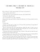 CÂU HỎI 1 (MỤC 3 - BÀI HỌC 18 - TRANG 64 )SGK ĐỊA LÍ 8