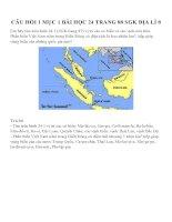 CÂU HỎI MỤC BÀI HỌC 24 TRANG 88 SGK ĐỊA LÍ 8