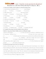 Đề kiểm tra 1 tiết môn Tiếng Anh lớp 8 có đáp án - Đề 2