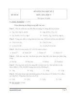 Đề thi hóa học lớp 9 kỳ 2 cực hay đề 7