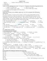 Đề kiểm tra môn tiếng anh lớp 9  Đề số 4