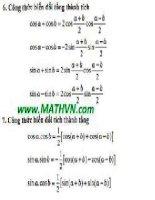 các công thức toán học phải nhớ  9