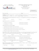 Đề thi thử THPT Quốc gia môn Vật lý trường THPT  Hưng nhân, thái bình   lần 3