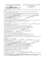 Đề thi thử THPT Quốc gia môn Sinh học trường Trưng vương, bình định   lần 5
