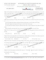 Đề thi thử THPT Quốc gia môn Vật lý trường THPT Trần phú, vĩnh phúc (tháng 10)