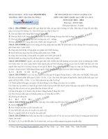Đề thi thử THPT Quốc gia môn Sinh học trường Quảng xương   thanh hóa   lần 2