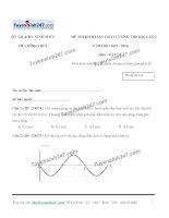 Đề thi thử THPT Quốc gia môn Vật lý Sở GDĐT vĩnh phúc   lần 2