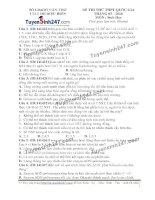 Đề thi thử THPT Quốc gia môn Sinh học trường Trung tâm luyện thi diệu hiền, cần thơ