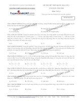 Đề thi thử THPT Quốc gia môn Vật lý trường THPT nguyễn đức mậu quỳnh lưu, nghệ an   lần 2