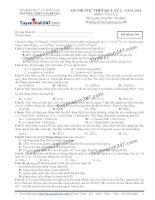 Đề thi thử THPT Quốc gia môn Vật lý trường THPT Gia bình 1, bắc ninh   lần 2