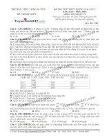 Đề thi thử THPT Quốc gia môn Sinh học trường Long xuyên, an giang   lần 5