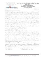 Đề thi thử THPT Quốc gia môn Vật lý Sở GDĐT bắc ninh   lần 1