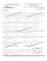 Đề thi thử THPT Quốc gia môn Vật lý trường THPT Thuận thành 1, bắc ninh   lần 2