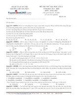 Đề thi thử THPT Quốc gia môn Sinh học trường Đa phúc, hà nội lần 3