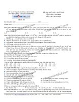 Đề thi thử THPT Quốc gia môn Sinh học trường Thuận thành số 3, bắc ninh