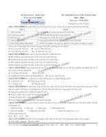 Đề thi thử THPT Quốc gia môn Sinh học Sở GDĐT quảng ninh