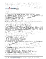 Đề thi thử THPT Quốc gia môn Sinh học trường Chuyên bến tre   lần 2