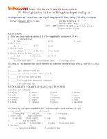 Bộ đề thi giữa học kì 1 môn Tiếng Anh lớp 6 có đáp án