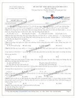 Đề thi thử THPT Quốc gia môn Vật lý trường THPT  Hải lăng, quảng trị   lần 1