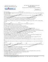 Đề thi thử THPT Quốc gia môn Sinh học trường Đào duy từ, thái nguyên   lần 7