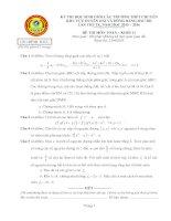 Đề thi duyên hải đồng bằng bắc bộ môn toán lớp 11 năm 2016   đề chính thức