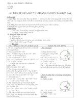 Giáo án Hình học 9 chương 2 bài 3: Liên hệ giữa dây và khoảng cách từ tâm đến dây