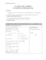 Giáo án Đại số 9 chương 4 bài 4: Công thức nghiệm của phương trình bậc hai