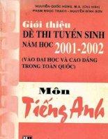 Gioi thieu de thi tuyen sinh nam hoc 2001 2002 mon tieng anh (NXB dai hoc quoc gia 2001)   nguyen quoc hung, 356 trang (NXPowerLite copy)