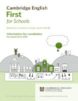 Information for candidates first for schools 2015