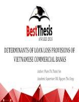 Slide: DETERMINANTS OF LOAN LOSS PROVISIONS OF VIETNAMESE COMMERCIAL BANKS