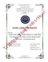 Đánh giá chất lượng dịch vụ thẻ ATM của ngân hàng TMCP xuất nhập khẩu việt nam  chi nhánh huế