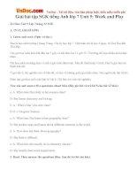 Giải bài tập SGK tiếng Anh lớp 7 Unit 5: Work and Play