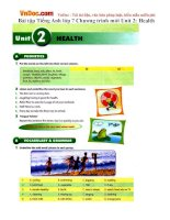 Bài tập Tiếng Anh lớp 7 Chương trình mới Unit 2: Health