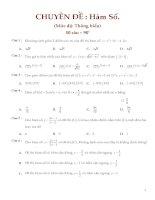 Đề thi chuyên đề hàm số (có đáp án)
