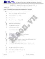 SCRIPT AND TRANSLATION for LISTENING TEST 1 3