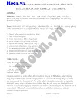 Key explanation grammar vocan test 1 3