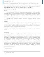 LES RELATIONS COOPERATIVES ENTRE LES ACTEURS DU CANAL MARKETING  UNE ETUDE EXPLORATOIRE AU VIETNAM