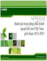 Đánh giá hoạt động điều hành ngoại hối của Việt Nam giai đoạn 20112015