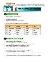 Bài tập Tiếng Anh lớp 10 Chương trình mới Unit 4: For a Better Community