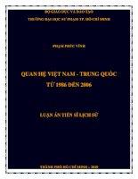 Tóm tắt luận án tiến sĩ Lịch sử Quan hệ Việt Nam - Trung Quốc từ 1986 đên 2006
