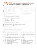 Bộ đề kiểm tra 15 phút môn Tiếng Anh lớp 12