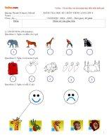Đề kiểm tra học kì 1 môn Tiếng Anh lớp 4 trường tiểu học Quảng Thành