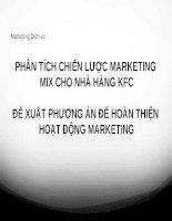 Thuyết trình môn marketing dịch vụ phân tích chiến lược marketing mix cho nhà hàng KFC
