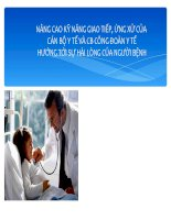 Nâng cao kỹ năng giao tiếp, ứng xử của cán bộ y tế và cán bộ công đoàn y tế hướng tới sự hài lòng của người bệnh