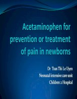 Acetaminophen for prevention or treatment of pain in