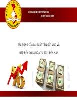 Thuyết trình môn tài chính tiền tệ tác động của lãi suất tiền gửi VND và USD đến đo la hóa từ 2011 đến nay