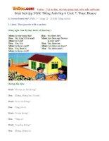 Giải bài tập SGK Tiếng Anh lớp 6 Unit 7: Your House
