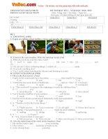 Bộ đề thi học kỳ 1 môn tiếng Anh lớp 7 Thí điểm huyện Hoài Nhơn, Bình Định năm học 2014 - 2015